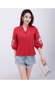 KTP12108381H Embroidery linen cheongsum blouse REAL PHOTO