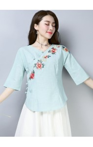KTP12103181L Embroidery linen cheongsum REAL PHOTO