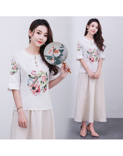KTP12113481L Embroidery linen cheongsum REAL PHOTO