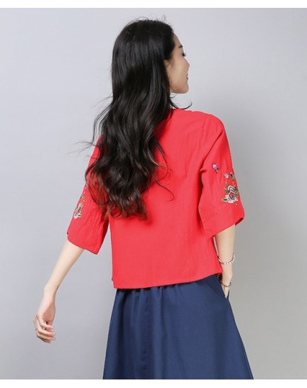 KTP12115188L Embroidery linen cheongsum REAL PHOTO