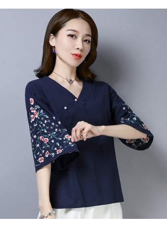 KTP12111381L Embroidery linen cheongsum REAL PHOTO