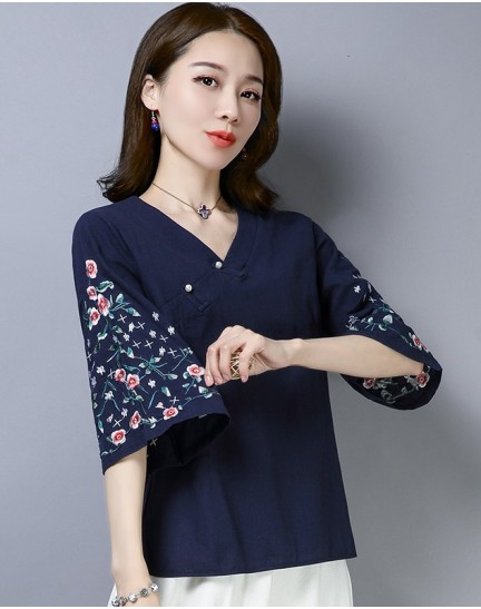 KTP12111381L Embroidery linen cheongsum blouse REAL PHOTO