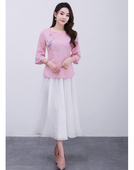 KTP12110481L Embroidery linen blouse REAL PHOTO