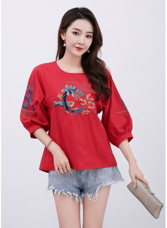 KTP12117381L Fish embroidery linen blouse REAL PHOTO