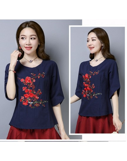 KTP12112381L Floral embroidery linen blouse REAL PHOTO