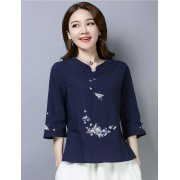 KTP12117281L Floral embroidery v neck linen blouse REAL PHOTO