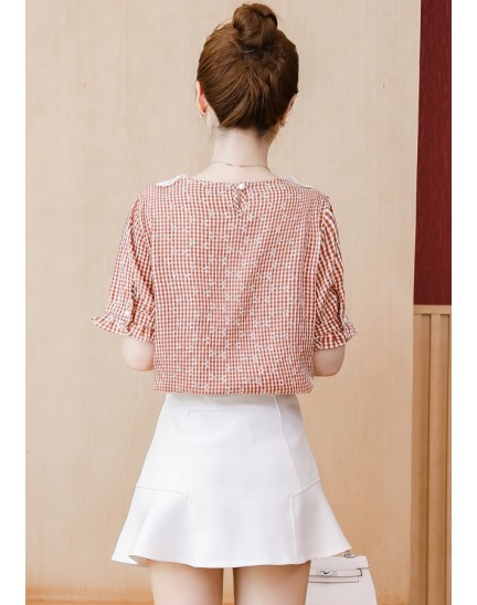 KTP12138348N Lace collar checker blouse REAL PHOTO
