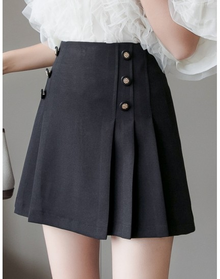 KSK12130272D Button pleated skirt REAL PHOTO