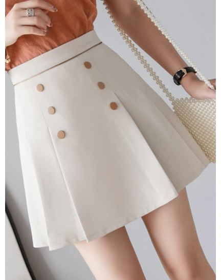 KSK12130372D Button pleated skirt REAL PHOTO