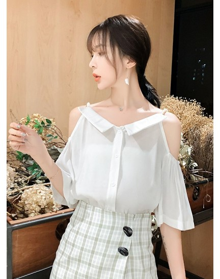 KTP12133239S Off shoulder blouse with pearl strap REAL PHOTO