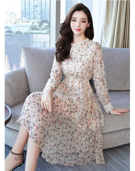 KDS12130109M Floral dress with lace trim REAL PHOTO