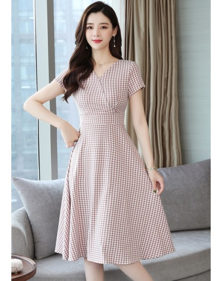 KDS12133209M Checker floral dress REAL PHOTO
