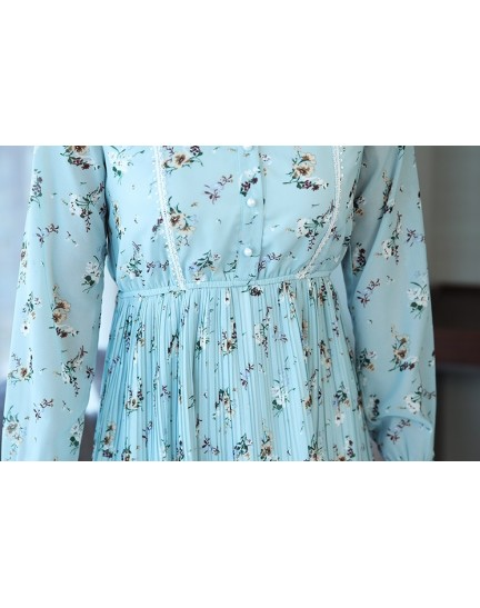 KDS12136009M Floral pleated dress REAL PHOTO