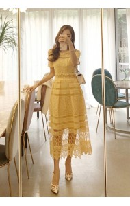 KDS12146357F Yellow crochet hollow dress REAL PHOTO