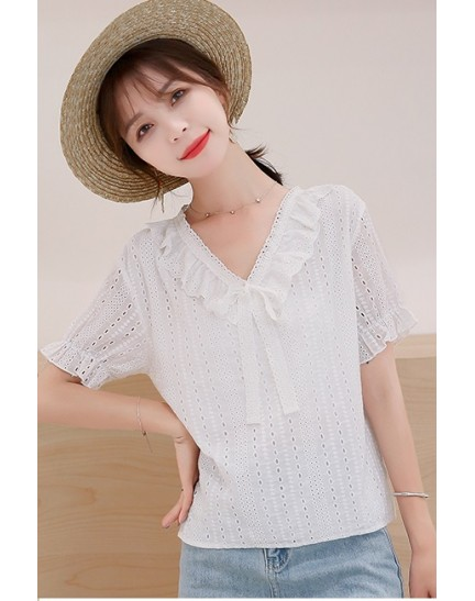 KTP12131178Y Crochet V neck ruffle blouse REAL PHOTO