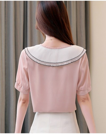 KTP12135078Y Pleated collar blouse with bow REAL PHOTO