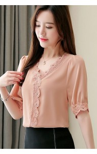 KTP12151908Y V neck lace trim chiffon blouse REAL PHOTO