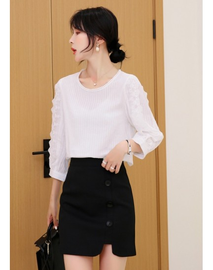KTP12152278Y Lace sleeves blouse REAL PHOTO