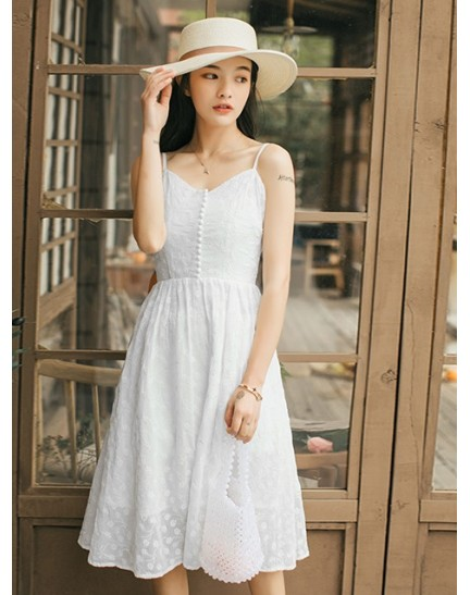 KDS1216318J Premium strappy floral embroidery dress REAL PHOTO