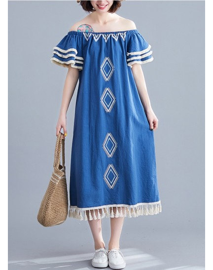 KDS1222532W Ukrainian linen embroidery dress REAL PHOTO