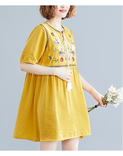 KDS1222262W Ukrainian linen embroidery dress REAL PHOTO