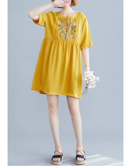 KDS1222162W Ukrainian linen embroidery dress REAL PHOTO