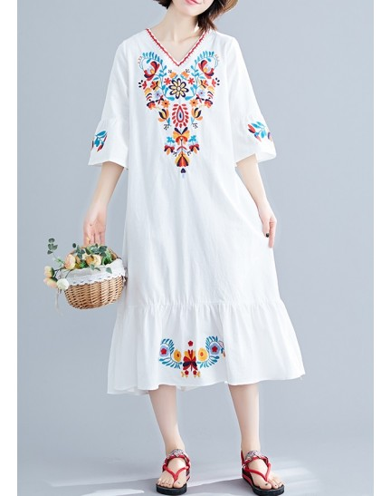 KDS1222132W Ukrainian linen embroidery dress REAL PHOTO