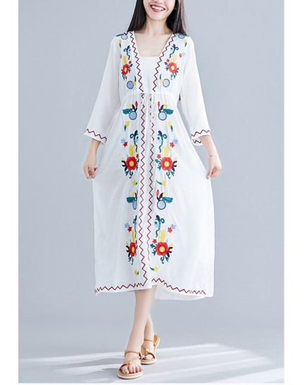 KDS1222352W Ukrainian linen embroidery dress REAL PHOTO