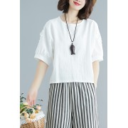 KTP12231208M Linen petal blouse REAL PHOTO