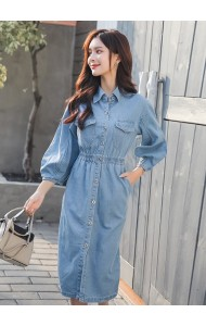 KDS03116188D Plus size 2020 puff sleeves denim dress
