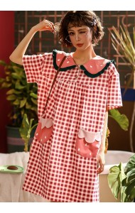 KWS043043055Y Strawberry checker cotton sleepwear