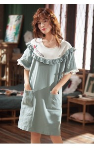 KWS043035316Y Ruffle blue cotton sleepwear