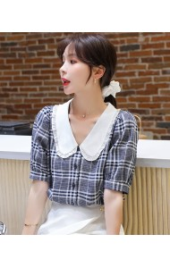 KTP059056X Checker peter pan blouse