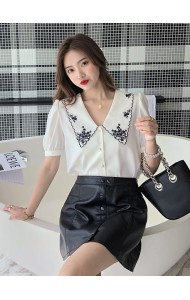 KTP053526S Chiffon embroidery V neck blouse