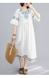 KDS05104W Plus size linen embroidery dress