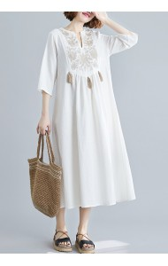 KDS05683W Plus size linen embroidery dress