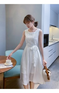 KDS056609H White embroidery midi dress