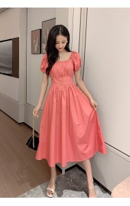KDS055258Y Button puff sleeves dress
