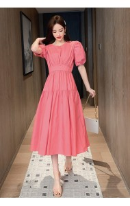 KDS058268Y Puff sleeves flared dress
