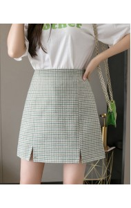 KPT051315K Plaid High waist split skirt