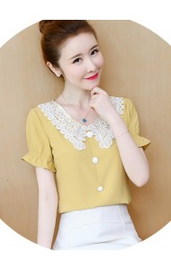 KTP05056L Embroidery collar chiffon blouse