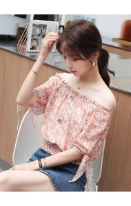 KTP05136L Off shoulder chiffon flower blouse