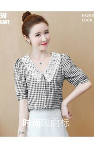 KTP05858L Crochet collar checker blouse