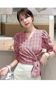 KTP05158L Checker wrap blouse