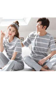 KSW051088S Stripes couple sleepwear pants set