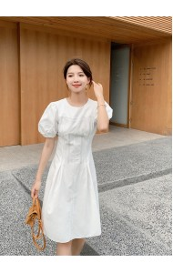KDS051691M High waist puff sleeves linen dress