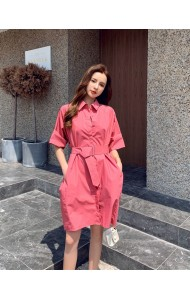 KDS058291M Belted polo shirt dress