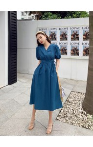 KDS058191M Puff sleeves wrap dress