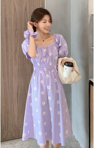 KDS050791M Puff sleeves embroidery floral dress