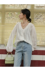 KTP062008S V neck puff sleeves crochet blouse